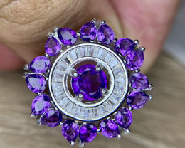 Natural Amethyst ring with CZ