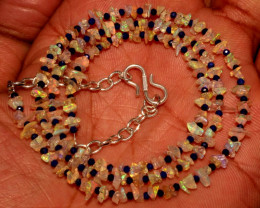 Natural Ethiopian Fire Uncut Opal & Lapis Lazuli Beads Necklace