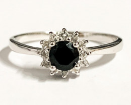 Stylish Natural Black Diamond And Topaz Ring ~Sterling  Silver 925 Ring