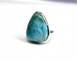 Exquisite Natural Sky Blue Larimar .925 Sterling Silver Ring #8.5