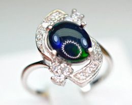 Natural Multi Fire Opal Cabochon,CZ 925 Silver Very Top Design Ring
