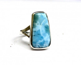 Charming Design Natural Sky Blue Larimar .925 Sterling Silver Ring #7
