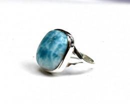 Stunning Natural Sky Blue Larimar .925 Sterling Silver Ring #8