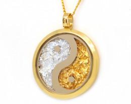 AUSTRALIAN GOLD NUGGET LEAVES & GOLD PLATED YIN& YANG PENDANT [JP04]