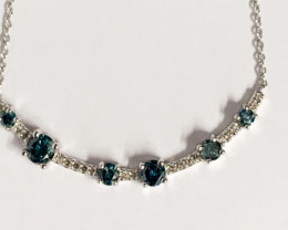 Natural Blue Diamond  And Topaz ~ Stylish Silver Necklace