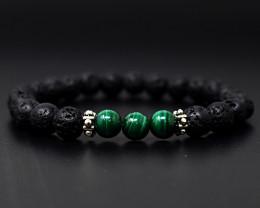 98 Cts Natural Lava & Malachite Round Shape Beads Stretchable Bracelet