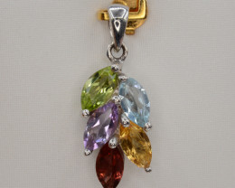 Natural Peridot, Amethyst, Citrine, Garnet and Blue Topaz Pendant