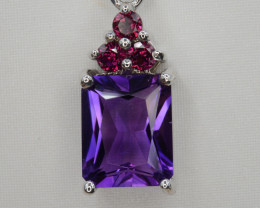 Natural Amethyst and Rhodolite Silver Pendant Top Quality.