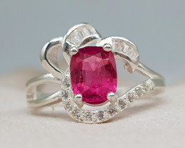 Natural  Rubellite Tourmaline 18.00 Carats 925 Silver Ring