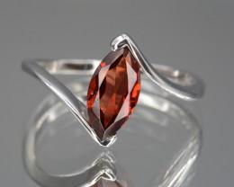 Natural Rhodolite Garnet 8.77 Cts Silver Ring