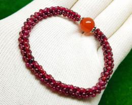 Natural Garnet And Agate Beads Bracelet