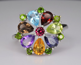 Natural Mix Stones  and 925 Silver Ring