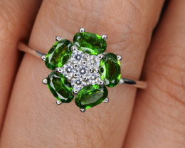 Natural Green Chrome Diopside , CZ and 925 Silver Ring