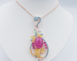 Beautiful Ruby Cab Necklace