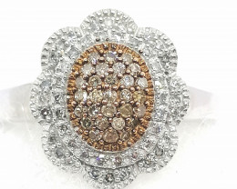 Champagne and White Diamond Ring 0.35tcw.