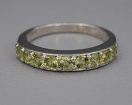 Natural Green Peridot 15.41 Cts CZ and  Silver Ring