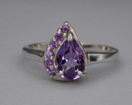 Natural Amethyst 16.76 Cts Silver Ring