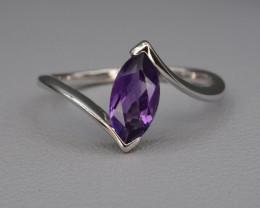 Natural Amethyst 9.75 Cts Silver Ring