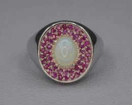 Natural Opal and Rhodolite Silver Ring