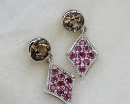 Natural Rhodolite Garnet 16.70 Cts Silver Earrings