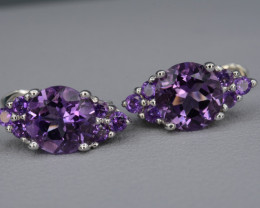 Natural Amethyst Silver Earrings 22.61 Cts