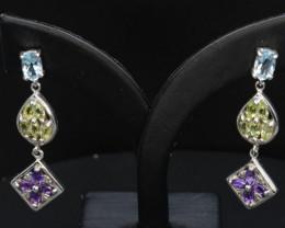 Natural Multi-stone Peridot, Amethyst, Blue Topaz Silver Earrings