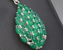 Natural Green Onyx Silver Pendant