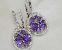 Natural Amethyst 43.42 Cts Silver and CZ Earrings