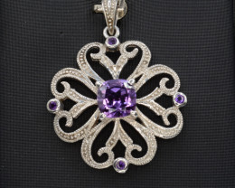Natural Amethyst 28.55 Silver, CZ Pendant