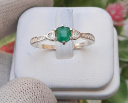 Natural Emerald 925 Silver Ring