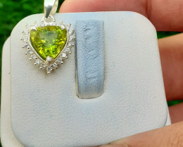 Natural Peridot 925 Silver Pendant