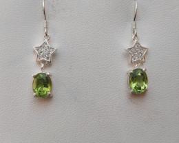 Natural Peridot 925 Silver Earring
