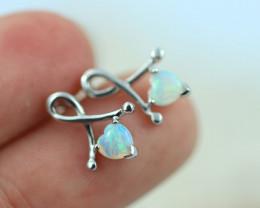 Cute Stylish Lovers Heart Crystal Opal Earrings CCC 3528