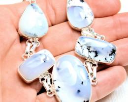 142.0 Tcw. Dendritic Opal / 9.25 Sterling Silver Bracelet