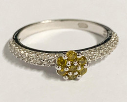 Stylish Natural Yellow Diamond And Topaz Ring ~ Silver