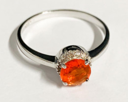 Stylish Natural Fire Opal And Topaz Ring ~ Silver