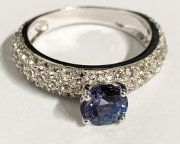 Stylish Natural Tanzanite And Topaz Ring ~ Silver