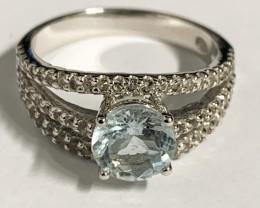 Stylish Natural Aquamarine 1.07 Cts And Topaz Ring ~ Silver