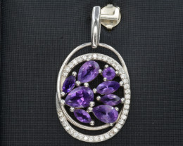 Natural Amethyst 15.83 Cts Silver and CZ Pendant