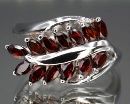 Natural Rhodolite Garnet 20.86 Cts Silver Ring