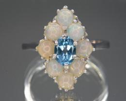 Multi-stone Opal and Topaz 22.22 Cts Ring Unique Design