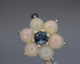 Multi-stone Opal and Topaz 16.84 Cts Ring