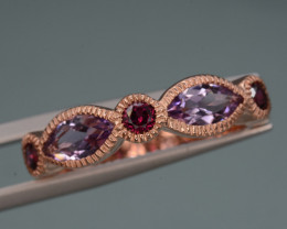 Multi-stone Amethyst and Rhodolite 21.17 Cts Ring