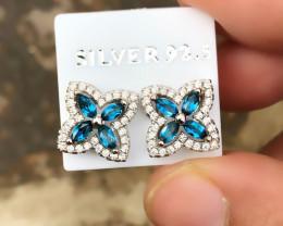 13.35 Ct Natural Blue Transparent Topaz Gemstones Earrings