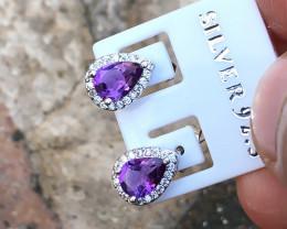 6.70 Ct Natural Purple Transparent Amethyst Gemstones Earrings