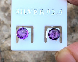 2.85 Ct Natural Purple Transparent Amethyst Gemstones Earrings