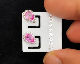 4.90 Ct Natural Pink Transparent Tourmaline Gemstones Earrings