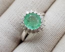 Natural Green Emerald  19.40 Carats 925 Silver Ring