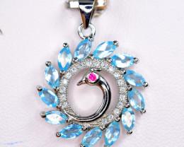 Natural 13 Pis Swiss blue Topaz ,CZ Nice 925 Silver Pendant