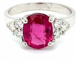 Rubellite 1.64ct Natural Diamonds Solid 14K White Gold Ring